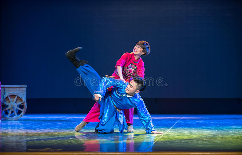 Mongolia bag songs -The national folk dance. Graduation performance of class5, grade 11, dancing department,Jiangxi Vocational Academy of Art on Dec30,2015 royalty free stock image