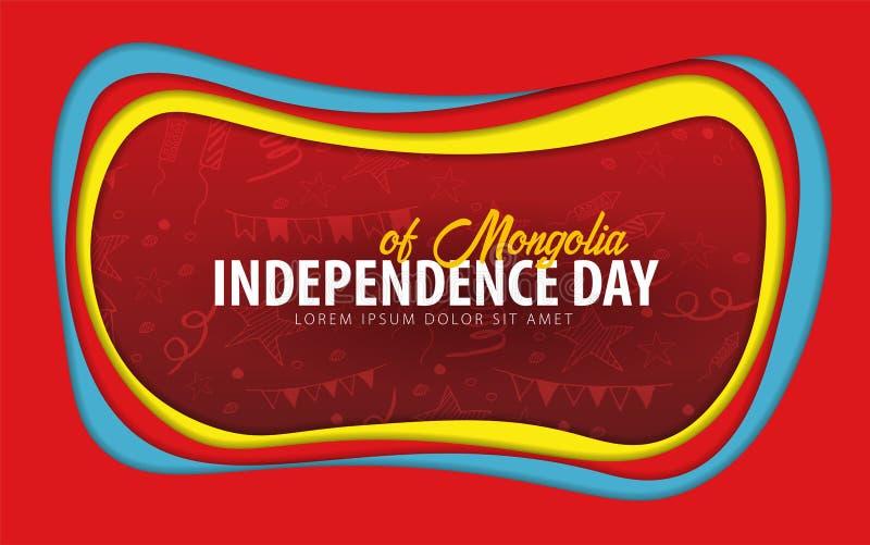 mongolia Carte de voeux de Jour de la Déclaration d'Indépendance style de coupe de papier illustration stock