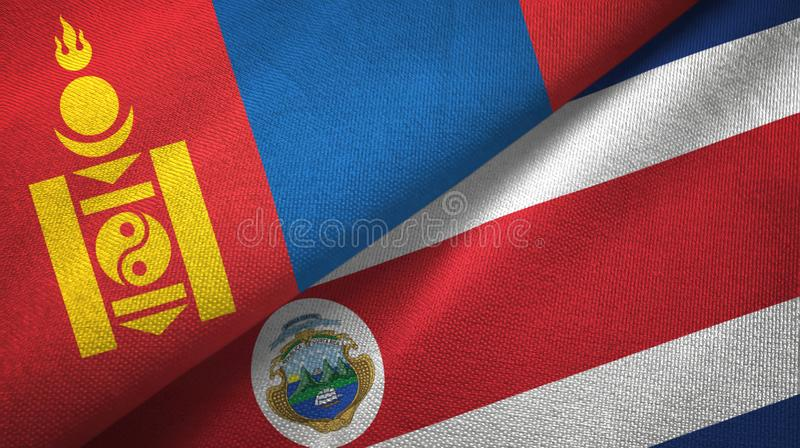 Mongolia and Costa Rica two flags textile cloth, fabric texture vector illustration