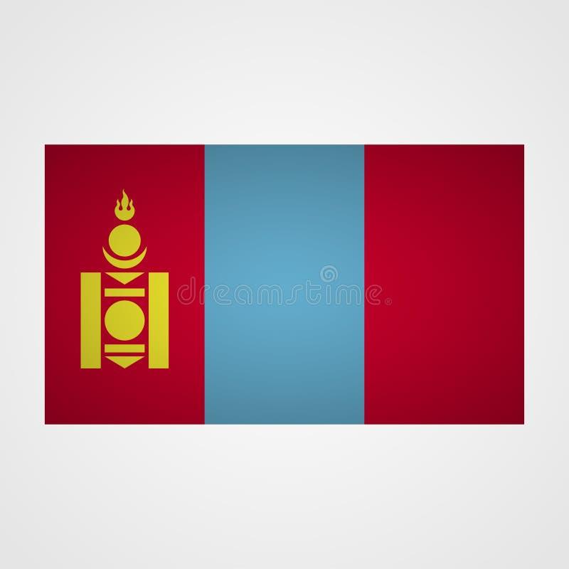 Mongolia flaga na szarym tle również zwrócić corel ilustracji wektora ilustracja wektor