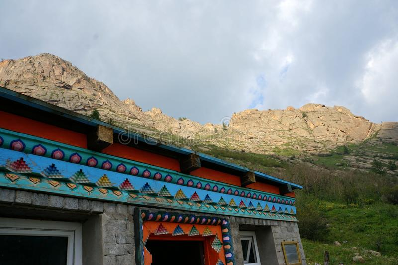 Mongolia Genghis Khan Park the mountains buddhist monastery. Travel August 2018 year.Mongolia Genghis Khan Park the mountains fancy stones Country blue sky royalty free stock photos