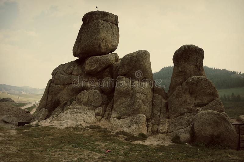 Mongolia Genghis Khan Park the mountains fancy stones royalty free stock image