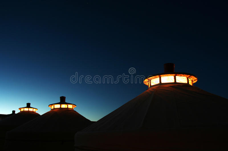Mongolia home at twilight royalty free stock image