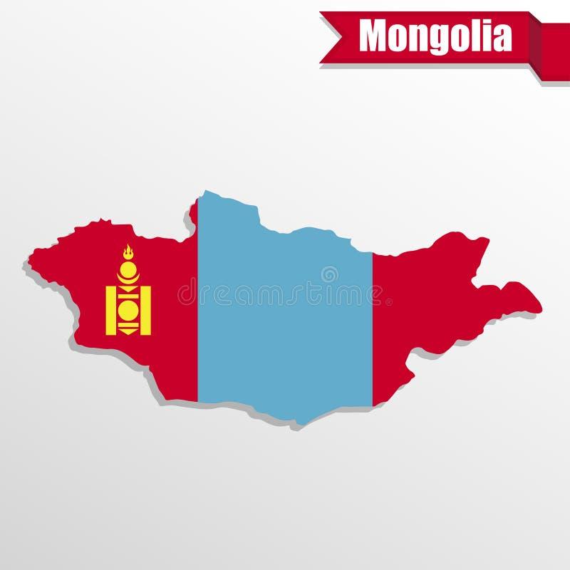 Mongolia mapa z flaga faborkiem i inside ilustracja wektor