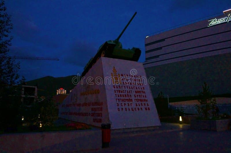 Mongolia noc Ulan Bator Zaisan ZBIORNIK T-34 «wywrotowiec Mongolia « zdjęcie stock