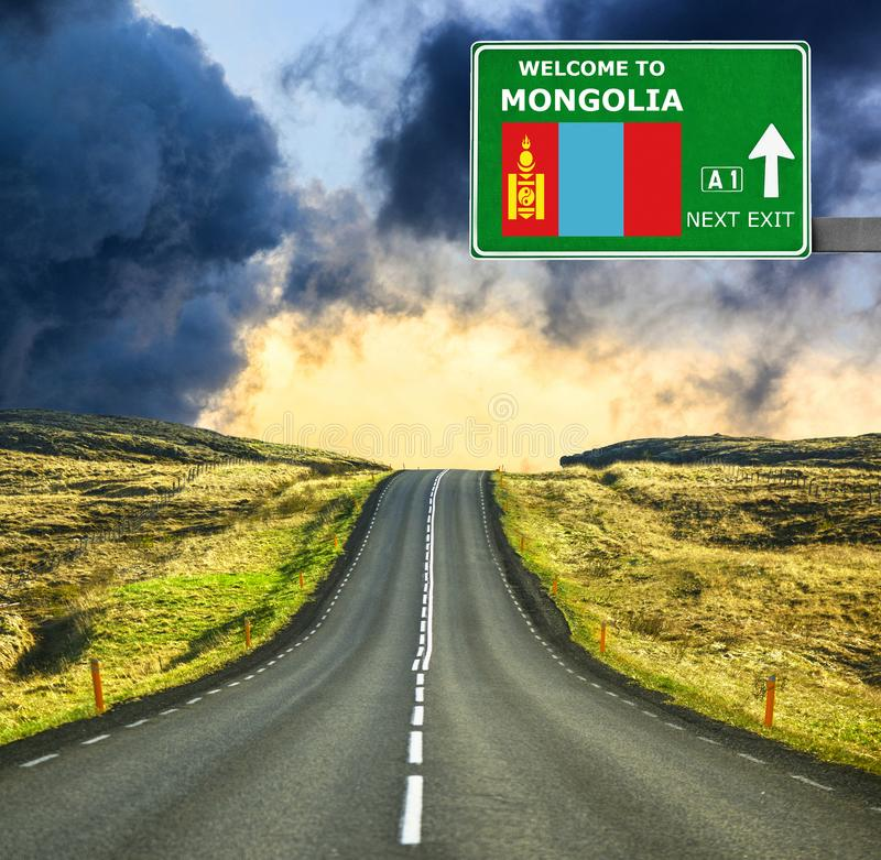 Mongolia road sign against clear blue sky royalty free stock image