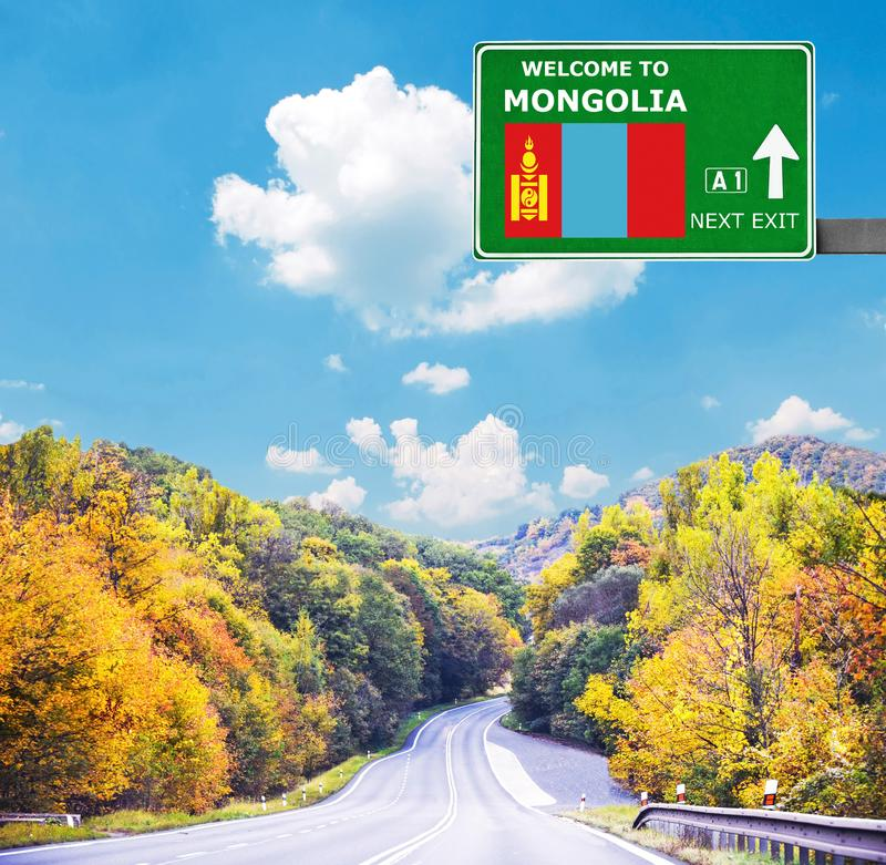 Mongolia road sign against clear blue sky royalty free stock photos