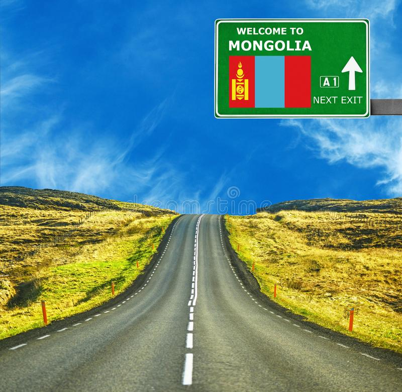 Mongolia road sign against clear blue sky royalty free stock photo