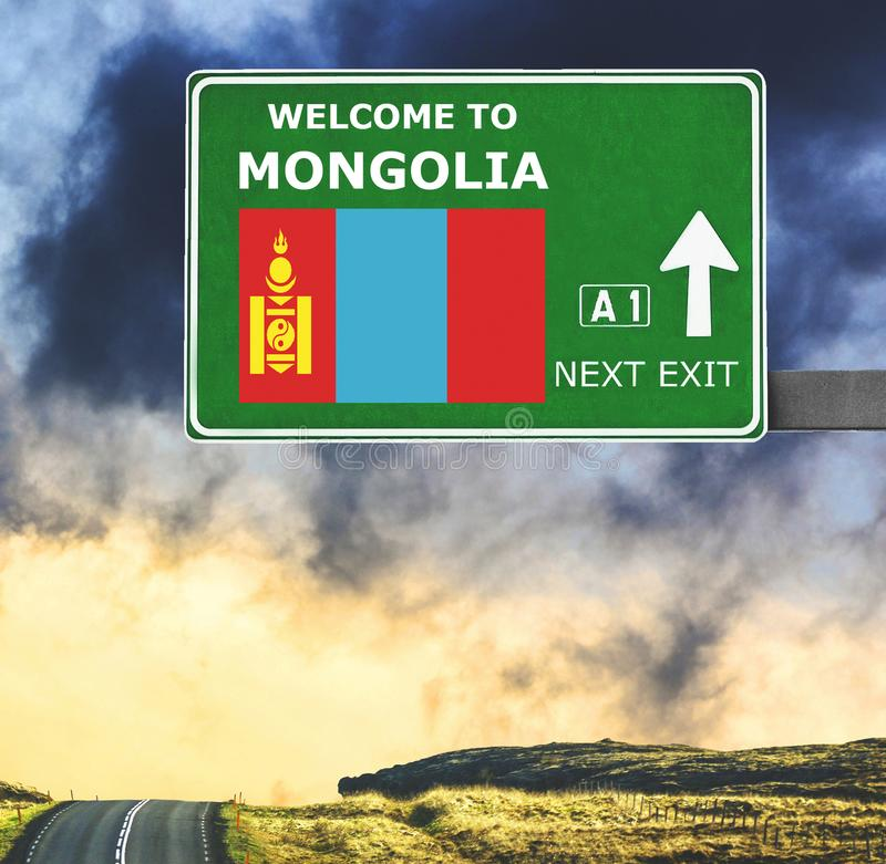 Mongolia road sign against clear blue sky stock image