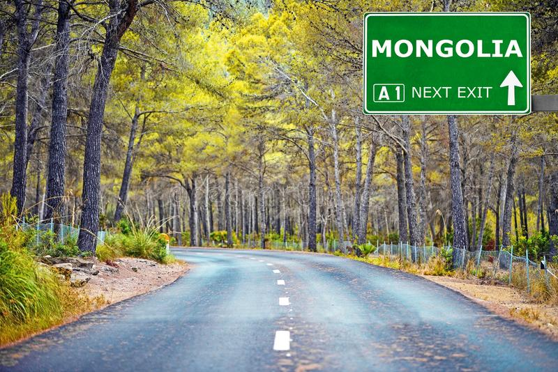MONGOLIA road sign against clear blue sky stock photo