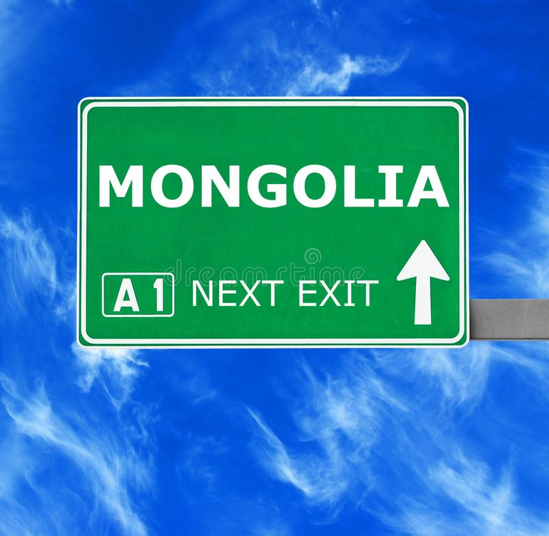 MONGOLIA road sign against clear blue sky stock photography
