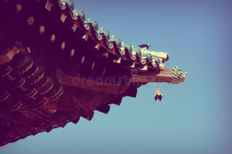 Mongolia Ulaanbaatar Buddhist monastery GandanArchitectural element roof. royalty free stock photos