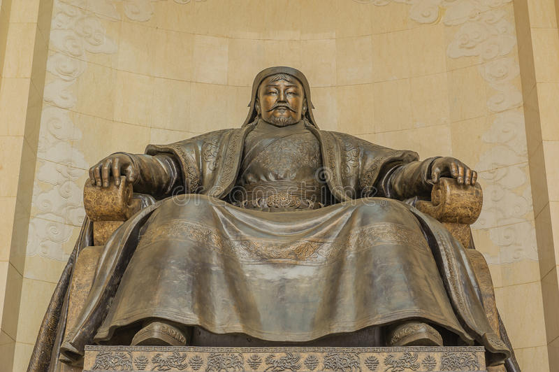 Mongolia - Ulaanbaatar - Chinggis Khan Statue. Close up of the statue of Chinggis Khan, the famous emperor and founder of the Mongolian empire, located at the stock photos