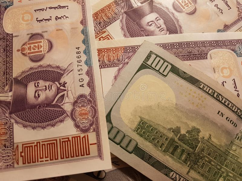 Mongolia and the United States Join in the trade and economy, banknotes Use it as a Forex or Financial.  stock images