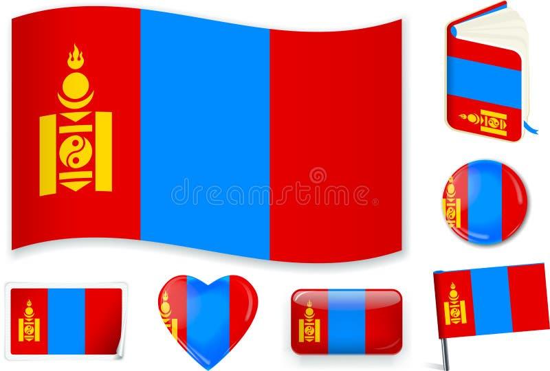 mongolia Vague, livre, cercle, goupille, bouton, coeur et autocollant mongols de drapeau illustration de vecteur
