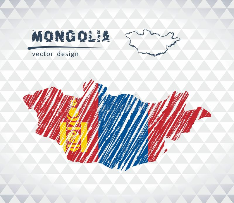 Mongolia vector map with flag inside isolated on a white background. Sketch chalk hand drawn illustration. Vector sketch map of Mongolia with flag, hand drawn stock illustration