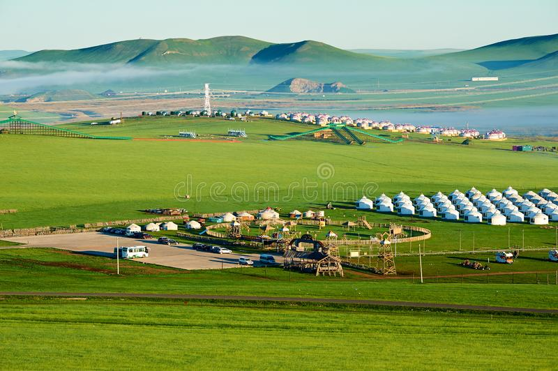 The mongolia yurts on the Hulunbuir grassland stock photography