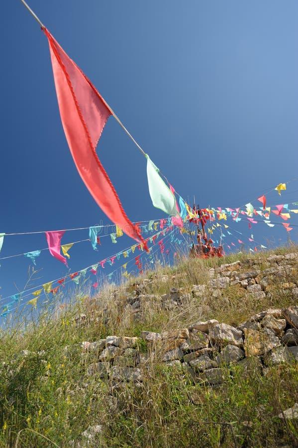 Download Mongolian Aobao And Flag Stock Image - Image: 21398941