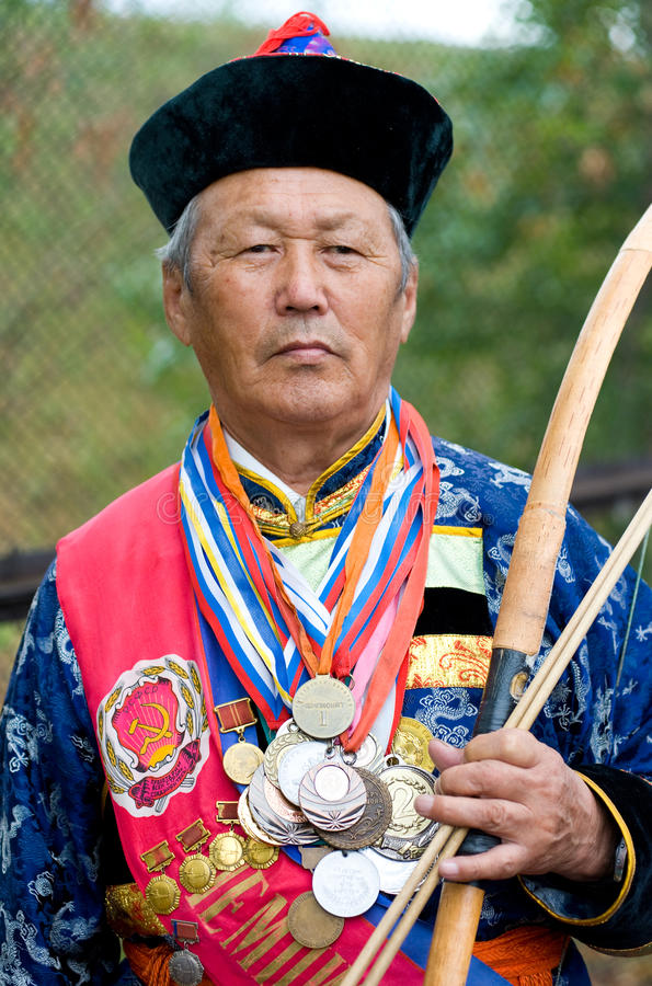 Mongolian archer stock photo