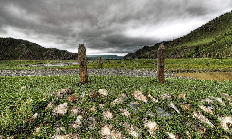 Mongolian bridge royalty free stock photography