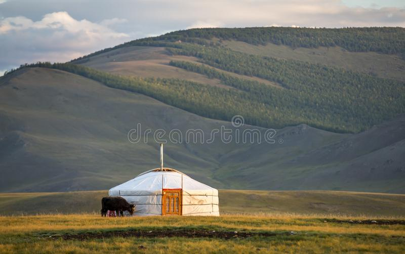 Family ger in a landscape of norther Mongolia. Mongolian family ger in a landscape of northern Mongolia royalty free stock photography