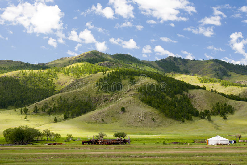 Download Mongolian Ger Home stock image. Image of grassland, mountain - 36744113