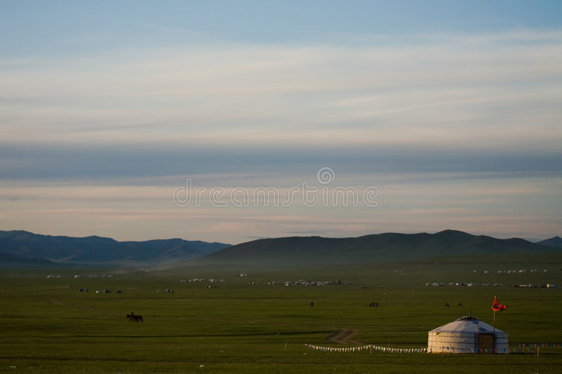 Mongolian Ger on the Steppe royalty free stock image