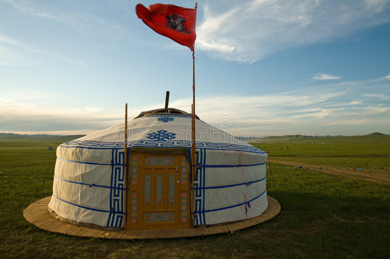 Mongolian Ger wth Sky Flag stock photos