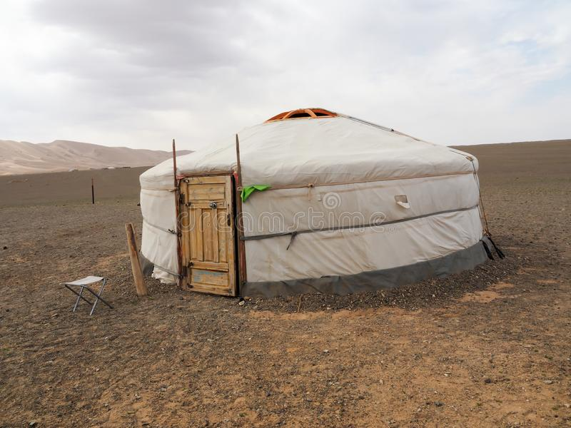 Mongolian ger or yurt in the Gobi desert - travel and tourism. In Asia stock image
