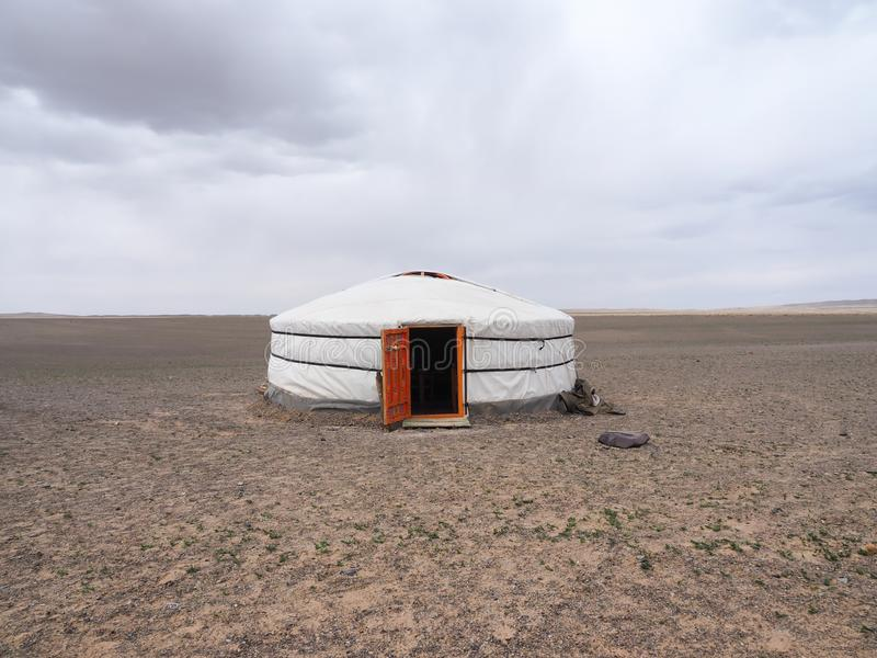 Mongolian ger or yurt in the Gobi desert - travel and tourism. In Asia stock photography