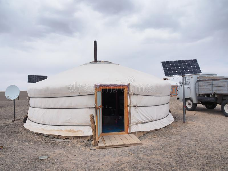 Mongolian ger or yurt, with solar panel and satellite dish. Asia travel stock image