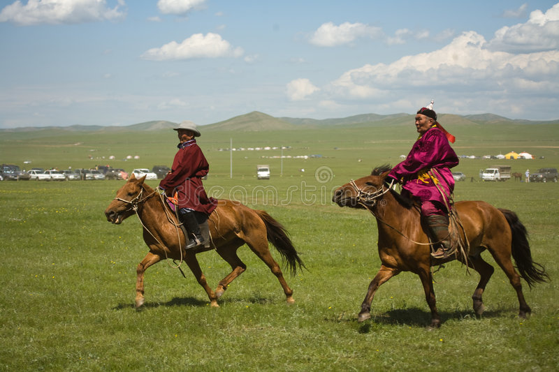 Mongolian Horse Racers Editorial Stock Image