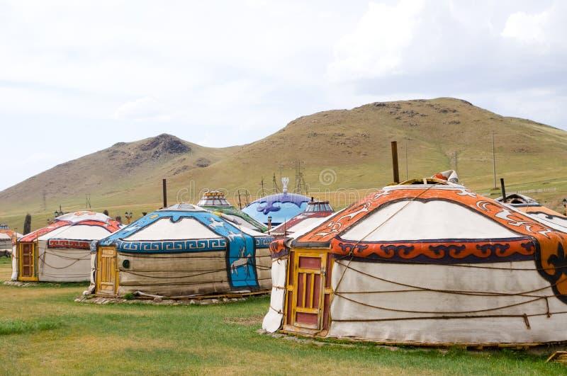 Mongolian jurts camp stock photo