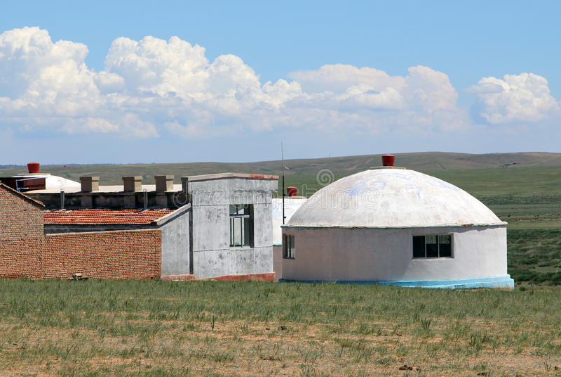 Mongolian modern yurt in steppe near Hohhot city, Inner Mongolia royalty free stock photos