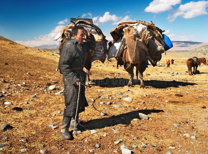 Mongolian nomads stock image