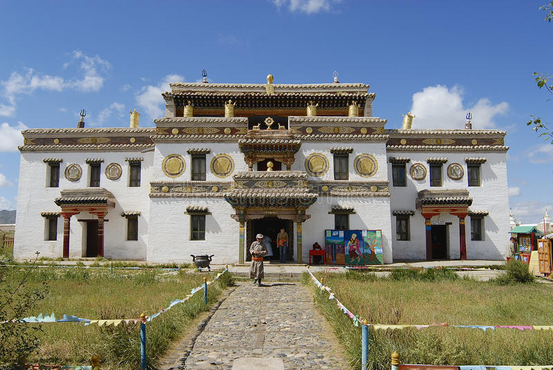 Mongolian people explore Erdene Zuu monastery in Kharkhorin, Mongolia. royalty free stock images