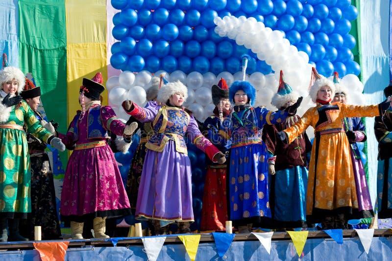 Mongolian singers at Shrovetide stock photo