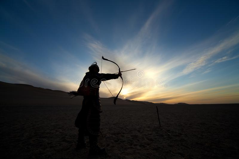 Black silhouette of warrior, archer, ancient soldier royalty free stock images