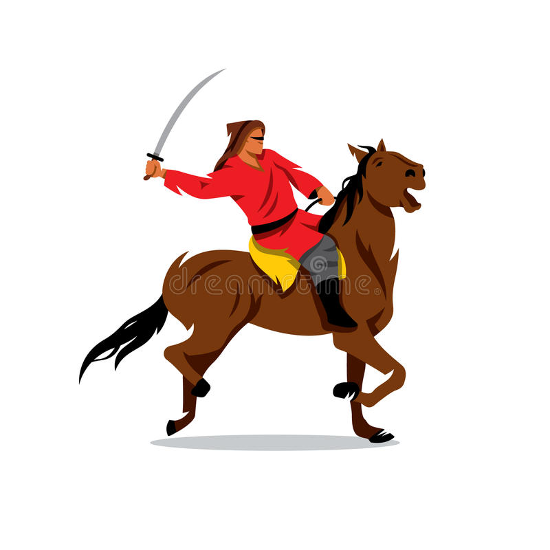 Mongolian Warrior with saber on horseback. vector illustration