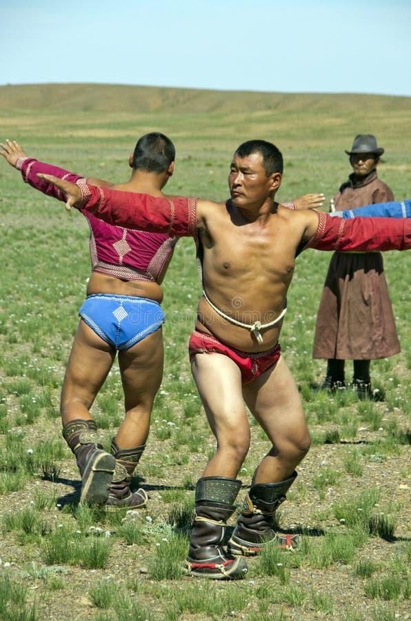 Mongolian wrestlers royalty free stock photo