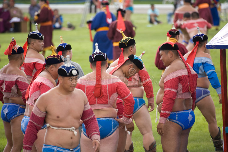 Download Mongolian Wrestlers gather editorial photo. Image of strength - 5914796