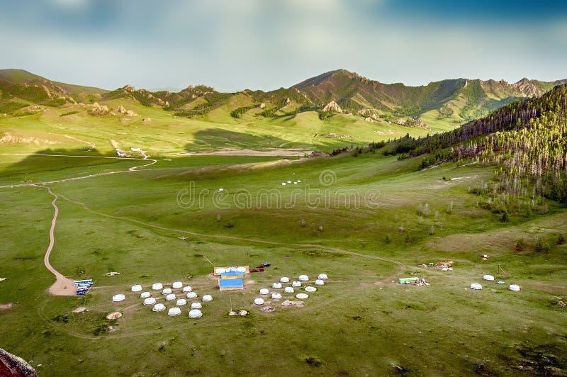 Mongolian Yourt Camp royalty free stock photo