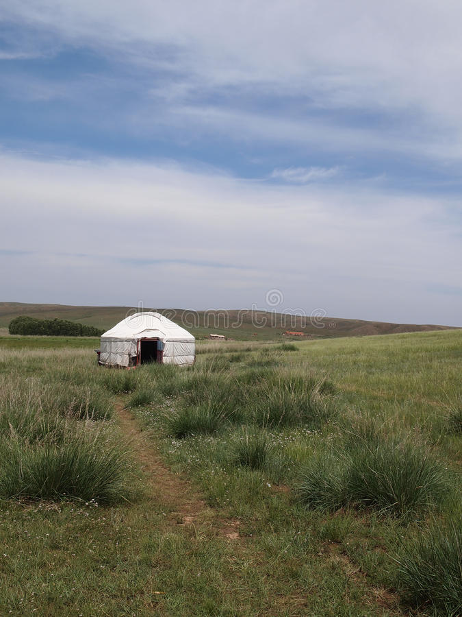 Mongolian yurt. In the grass land, Hohhot, china royalty free stock photography