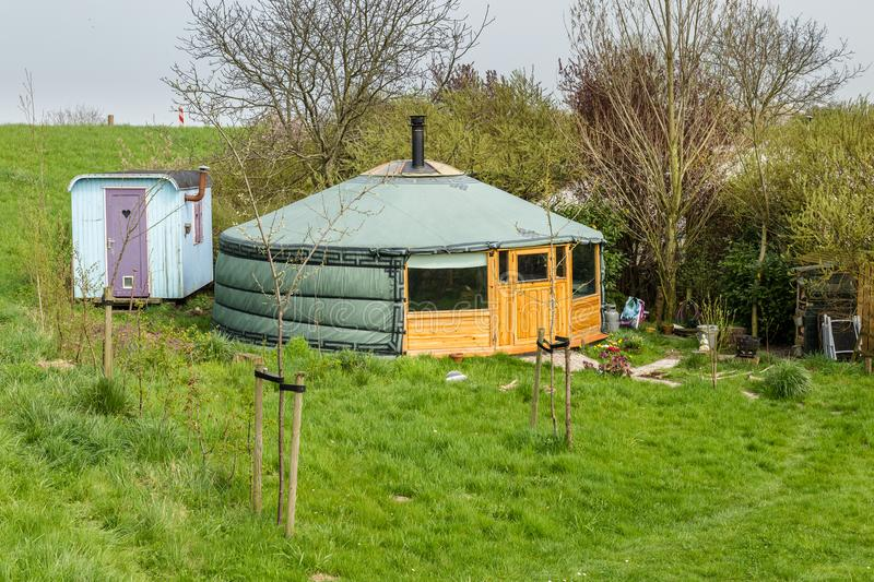 Mongolian yurt on a campsite. In the Netherlands stock photography