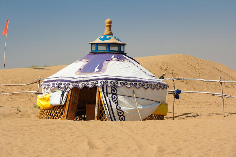 Mongolian Yurt in the Gobi Desert. In the heat of the day stock photography