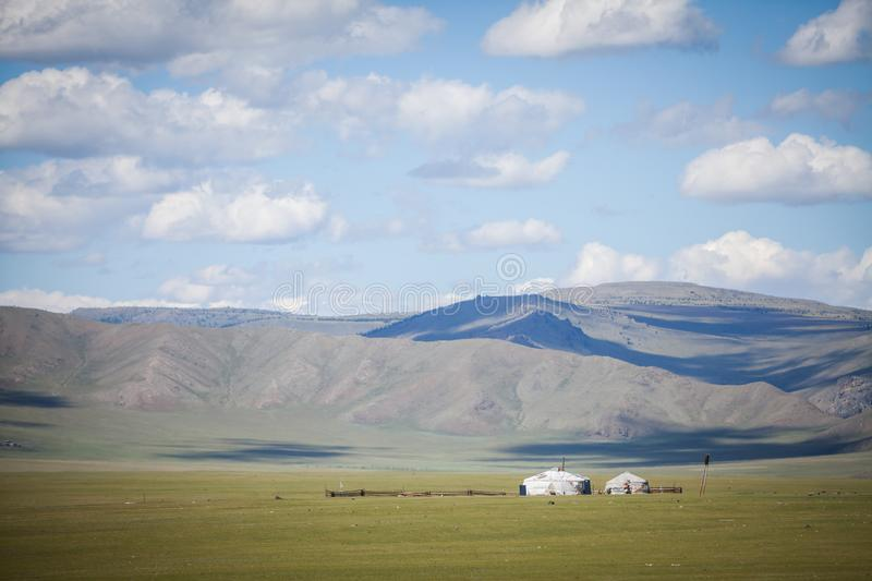 Mongolian yurt on a hill. Color image of a Mongolian yurt on a green field royalty free stock image