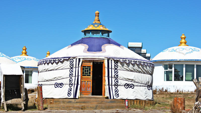Mongolian yurt. For people to live in stock photography