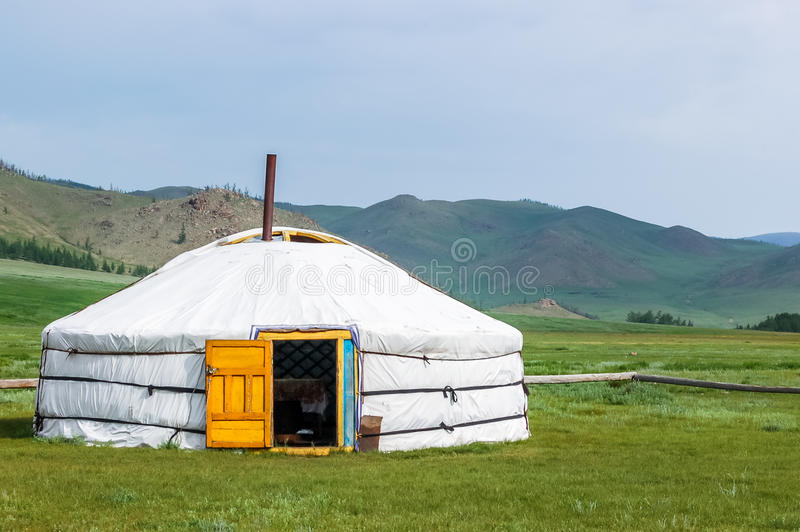 Mongolian yurt on steppe. Mongolian yurt called a ger on grassy steppe of northern Mongolia stock photo