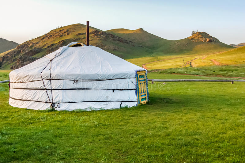Mongolian yurt on steppe. Mongolian yurt called a ger on grassy steppe of northern Mongolia stock photos