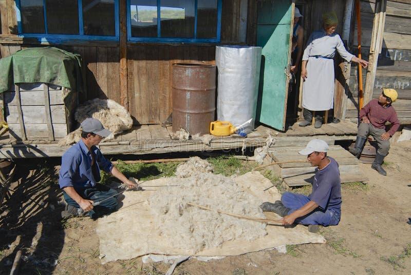 Mongolians produce felt in Harhorin, Mongolia. stock images